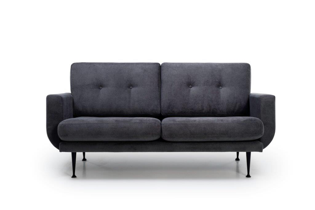 FLY 2-seater (ORINOCO 7 antrazite) front softnord soft nord scandinavian style furniture modern interior design sofa bed chair pouf upholstery