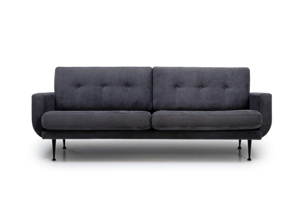 FLY 3-seater (ORINOCO 7 antrazite) front softnord soft nord scandinavian style furniture modern interior design sofa bed chair pouf upholstery