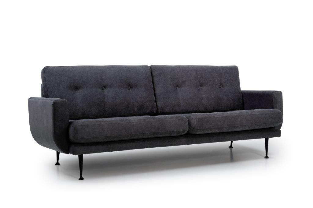 FLY 3-seater (ORINOCO 7 antrazite) side softnord soft nord scandinavian style furniture modern interior design sofa bed chair pouf upholstery