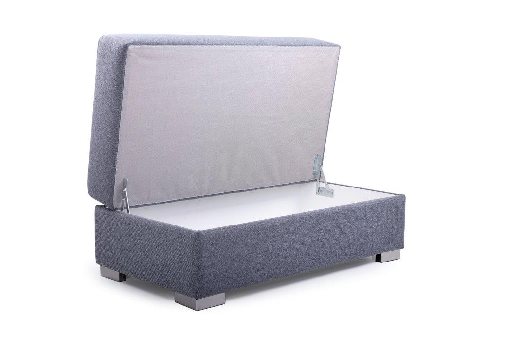 ML pouf with storage (AMIGO 3 grey) open softnord soft nord scandinavian style furniture modern interior design sofa bed chair pouf upholstery