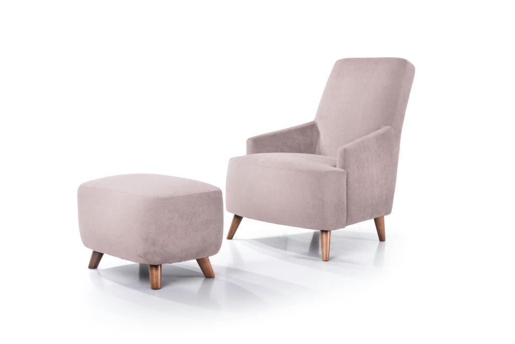 SLOPE chair+pouf (ORINOCO 11 pink)- softnord soft nord scandinavian style furniture modern interior design sofa bed chair pouf upholstery