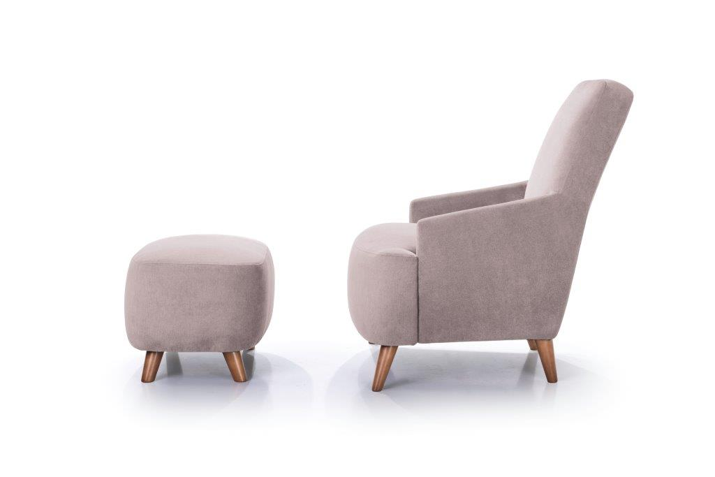 SLOPE chair+pouf (ORINOCO 11 pink) softnord soft nord scandinavian style furniture modern interior design sofa bed chair pouf upholstery