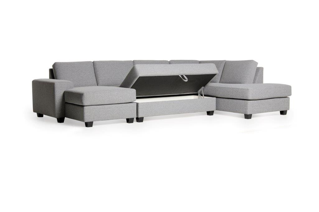VISBY big U shape + 2,5 seater pouffe (TROY 3 grey) (4) softnord soft nord scandinavian style furniture modern interior design sofa bed chair pouf upholstery