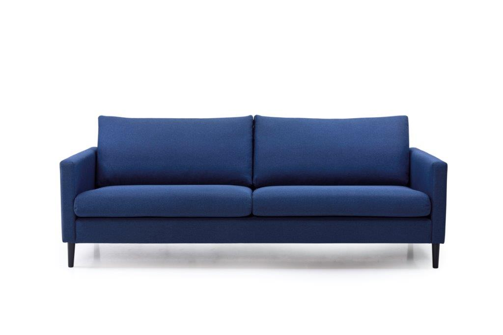 ADAGIO 3 seater with 2 sitting cushions (MALMO 16.2 dark blue) front softnord soft nord scandinavian style furniture modern interior design sofa bed chair pouf upholstery