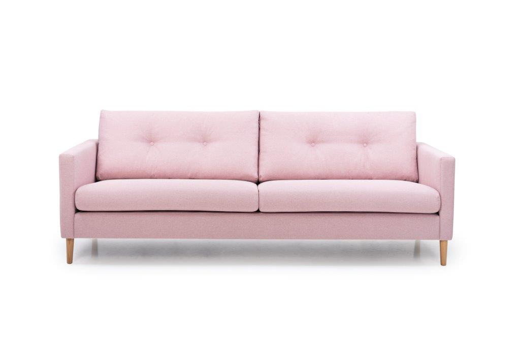 ADAGIO 3 seater with 2 sitting cushions with buttons (MALMO 11 pink) front softnord soft nord scandinavian style furniture modern interior design sofa bed chair pouf upholstery