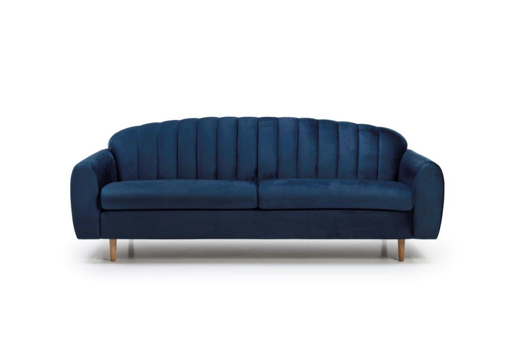 CADILLO 3 seater (MONOLITH 16 blue) front softnord soft nord scandinavian style furniture modern interior design sofa bed chair pouf upholstery