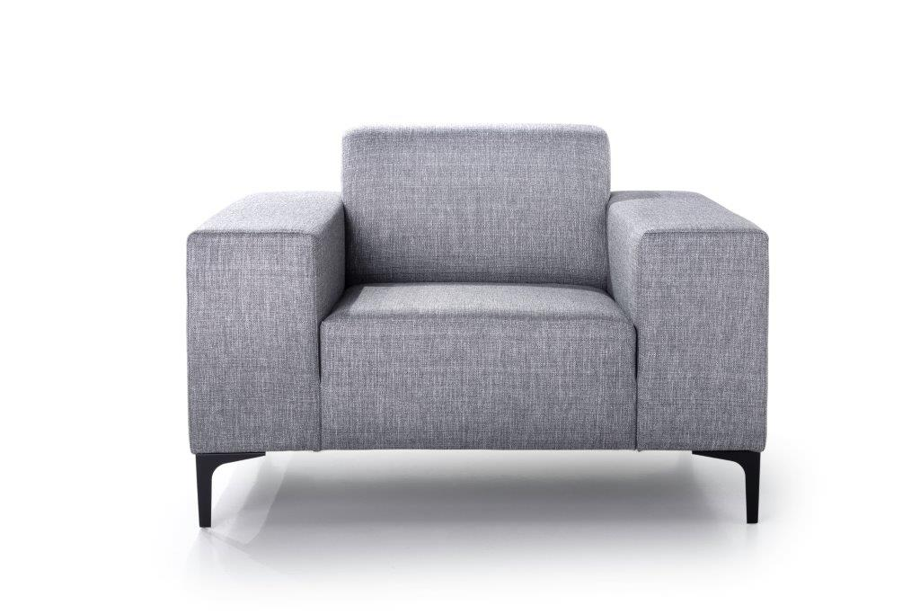 DIVA 1-seater (NIMES 22 silver) front softnord soft nord scandinavian style furniture modern interior design sofa bed chair pouf upholstery