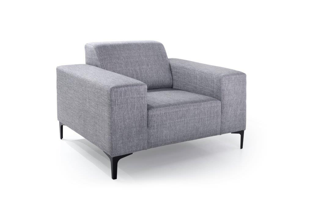 DIVA 1-seater (NIMES 22 silver) side softnord soft nord scandinavian style furniture modern interior design sofa bed chair pouf upholstery