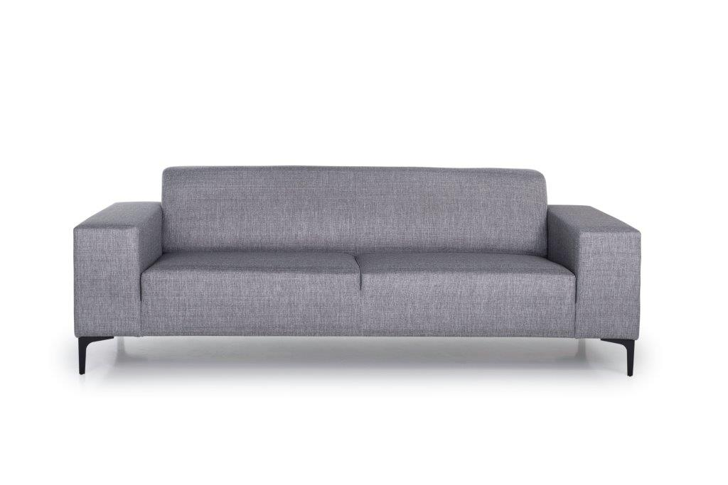 DIVA 3-seater (NIMES 22 silver) front softnord soft nord scandinavian style furniture modern interior design sofa bed chair pouf upholstery