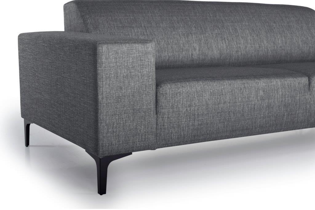 DIVA 3-seater (NIMES 7 antrazite) arm+leg softnord soft nord scandinavian style furniture modern interior design sofa bed chair pouf upholstery
