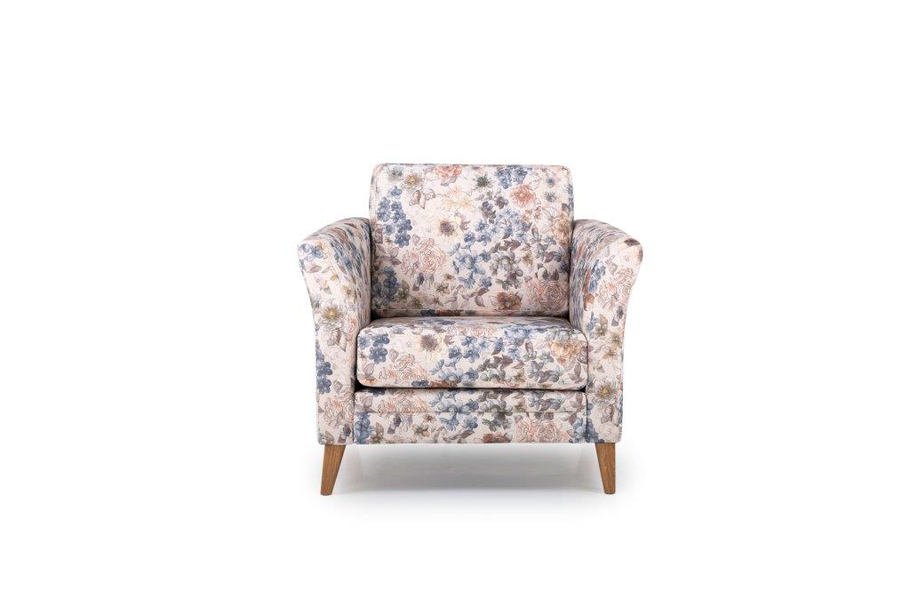 EDEN 1 seater (FLORAL) front softnord soft nord scandinavian style furniture modern interior design sofa bed chair pouf upholstery