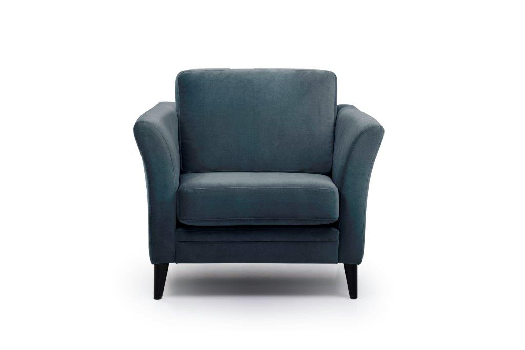 EDEN round 1-seater (TRENTO 16 blue) front softnord soft nord scandinavian style furniture modern interior design sofa bed chair pouf upholstery