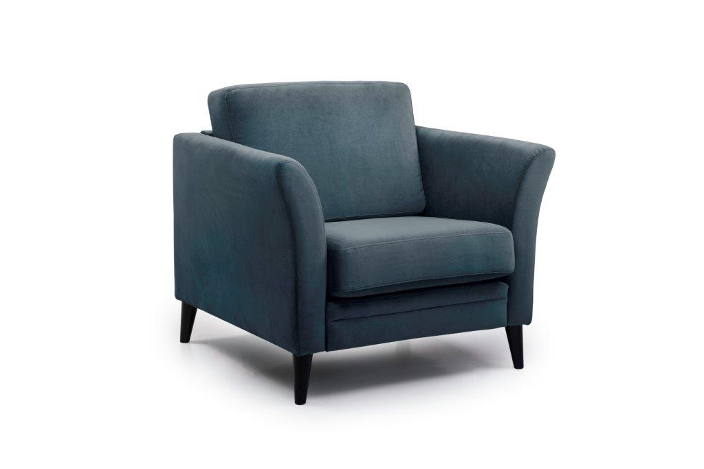 EDEN round 1-seater (TRENTO 16 blue) side softnord soft nord scandinavian style furniture modern interior design sofa bed chair pouf upholstery