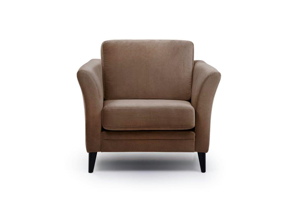 EDEN round 1-seater (TRENTO cappuccino) front softnord soft nord scandinavian style furniture modern interior design sofa bed chair pouf upholstery