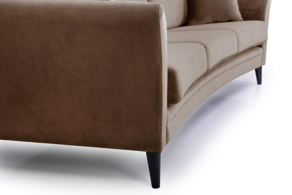 EDEN round 3-seater (TRENTO cappuccino) detail softnord soft nord scandinavian style furniture modern interior design sofa bed chair pouf upholstery