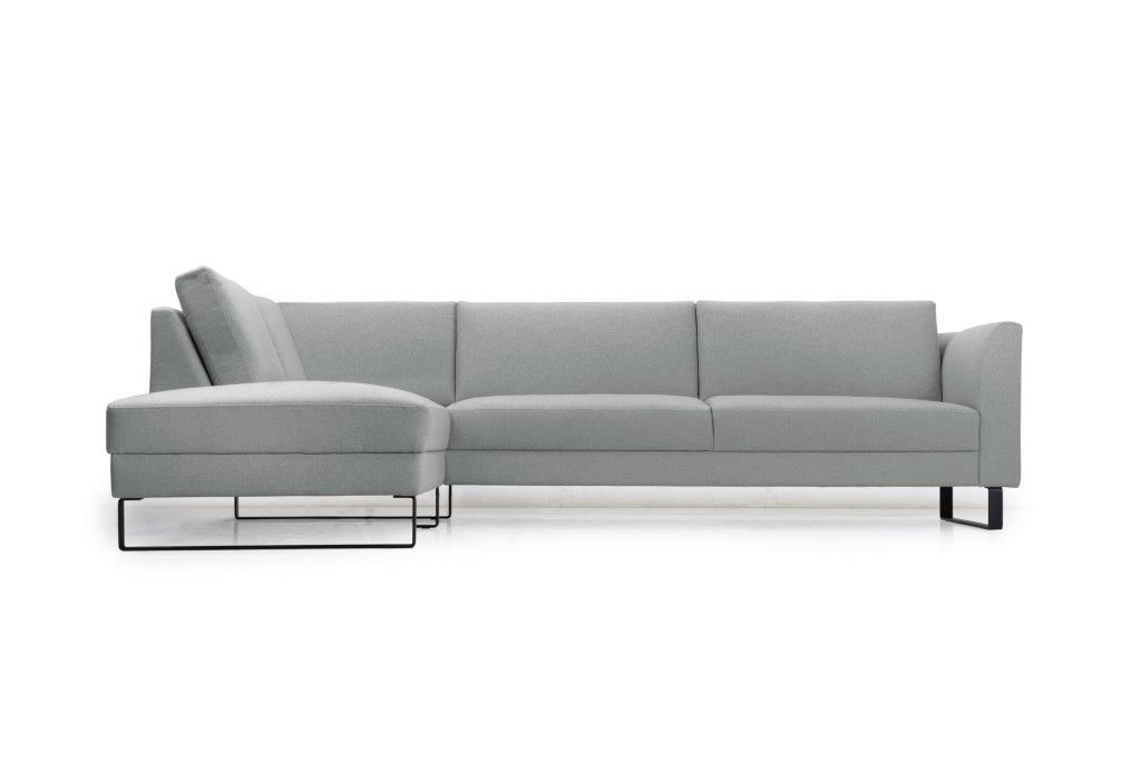 GENEVE open corner with 3 seater (VERONA 3 grey) front softnord soft nord scandinavian style furniture modern interior design sofa bed chair pouf upholstery