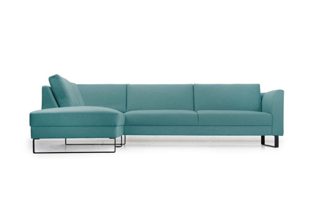 GENEVE open corner with 3 seater (VERONA 30 petrol) front softnord soft nord scandinavian style furniture modern interior design sofa bed chair pouf upholstery