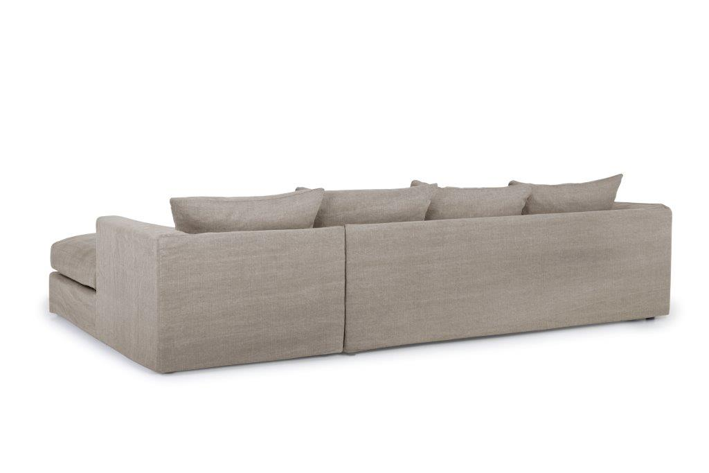 PORTAND chaiselongue with 3 seater (KISS 14 latte) back softnord soft nord scandinavian style furniture modern interior design sofa bed chair pouf upholstery