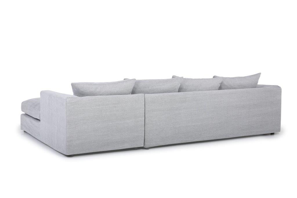 PORTAND chaiselongue with 3 seater (KISS 3.1 light grey) back softnord soft nord scandinavian style furniture modern interior design sofa bed chair pouf upholstery