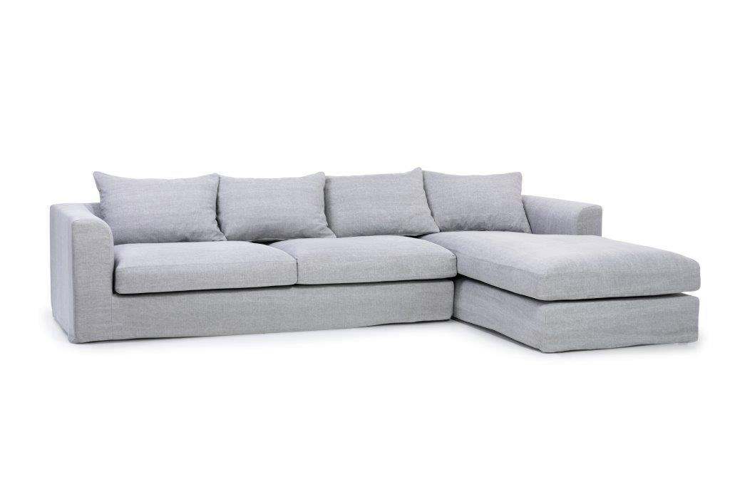 PORTAND chaiselongue with 3 seater (KISS 3.1 light grey) side softnord soft nord scandinavian style furniture modern interior design sofa bed chair pouf upholstery