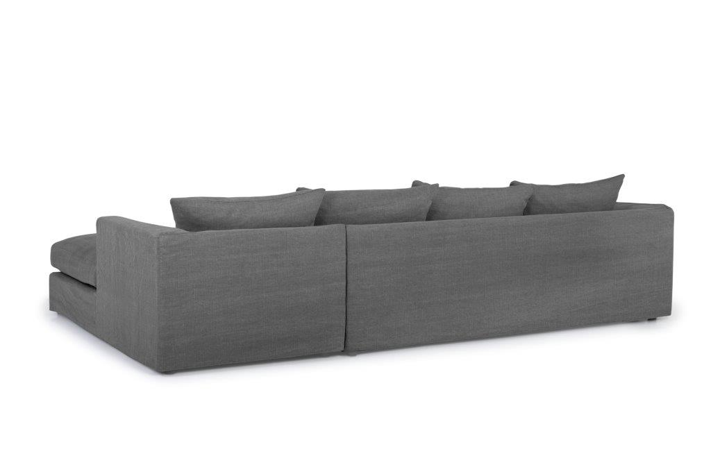 PORTAND chaiselongue with 3 seater (KISS 66 graphite) back softnord soft nord scandinavian style furniture modern interior design sofa bed chair pouf upholstery