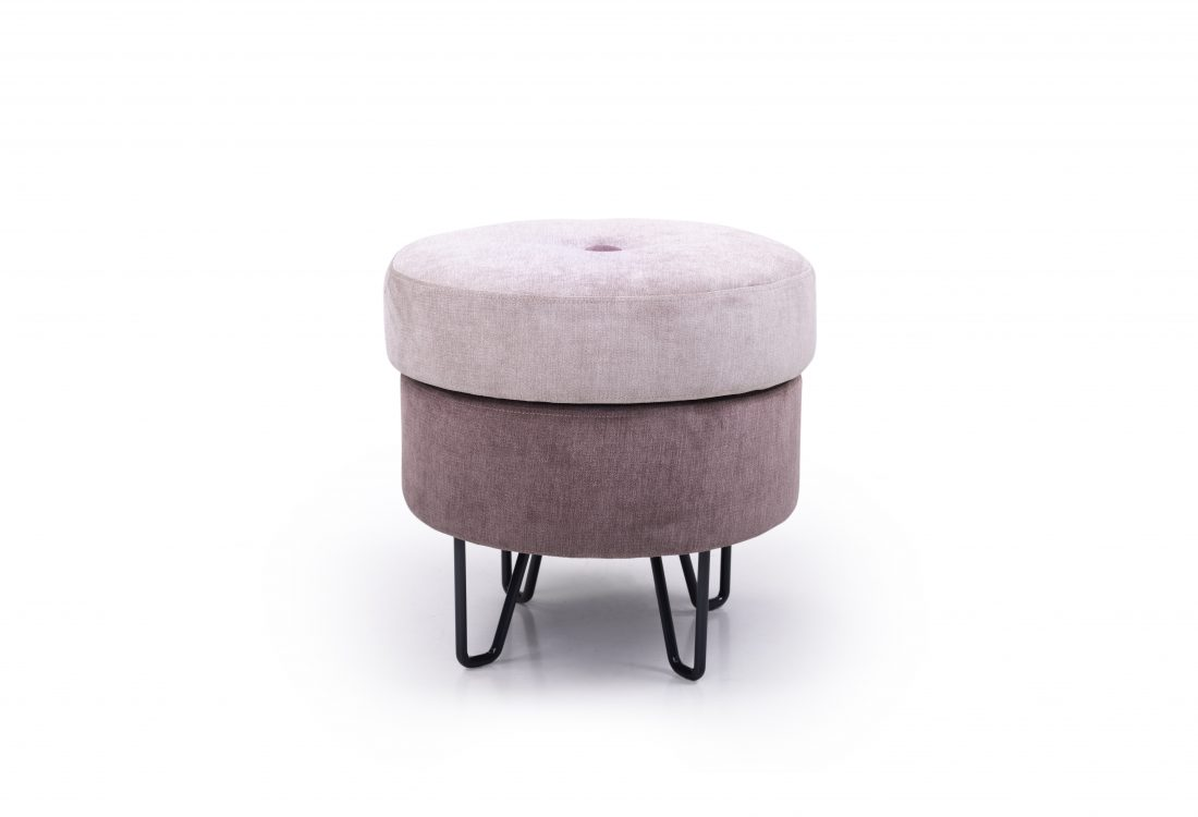 CARATE small pouf (ORINOCO 11 pink_ORINOCO 19 lily) front