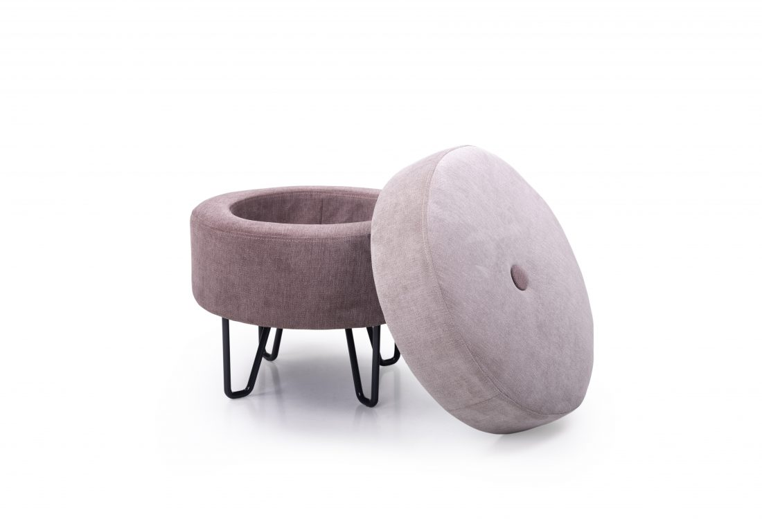 CARATE small pouf (ORINOCO 11 pink_ORINOCO 19 lily) front open