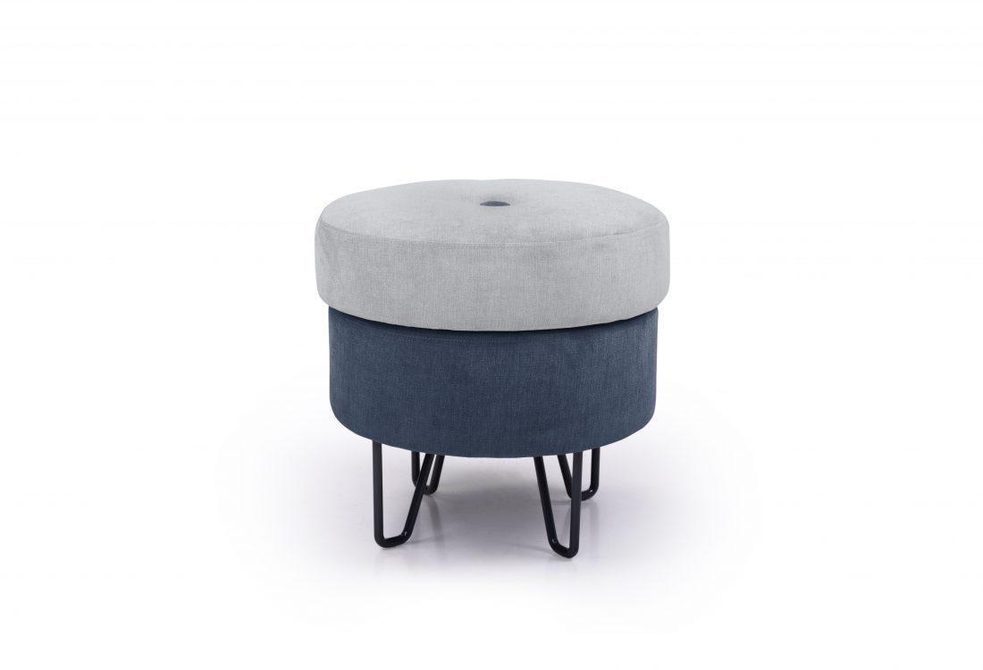 CARATE small pouf (ORINOCO 22 silver_ORINOCO 16 blue) front