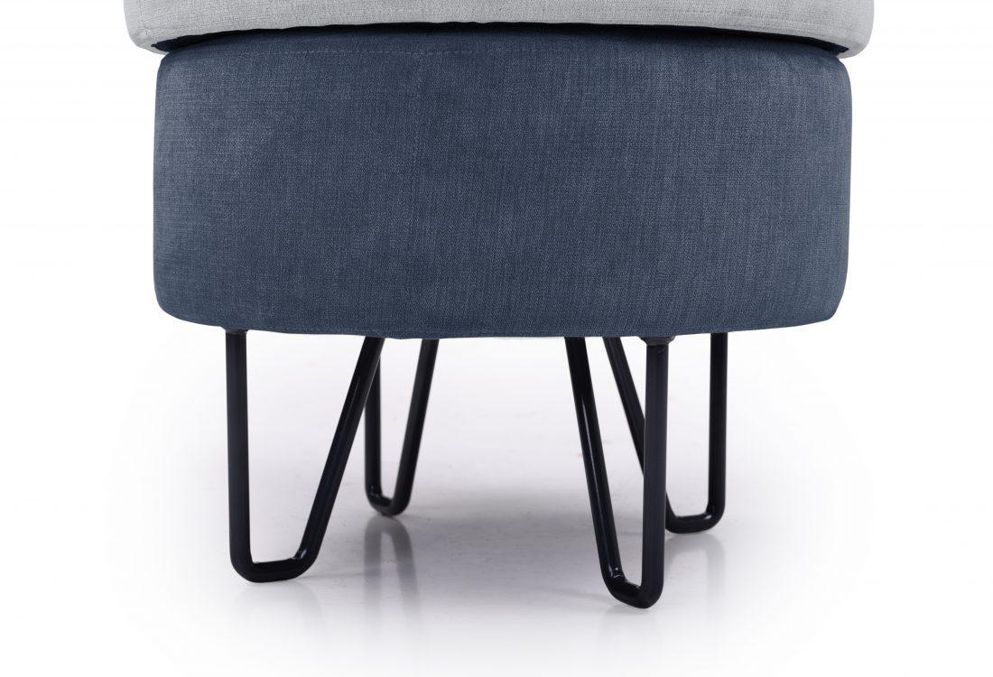 CARATE small pouf (ORINOCO 22 silver_ORINOCO 16 blue) legs