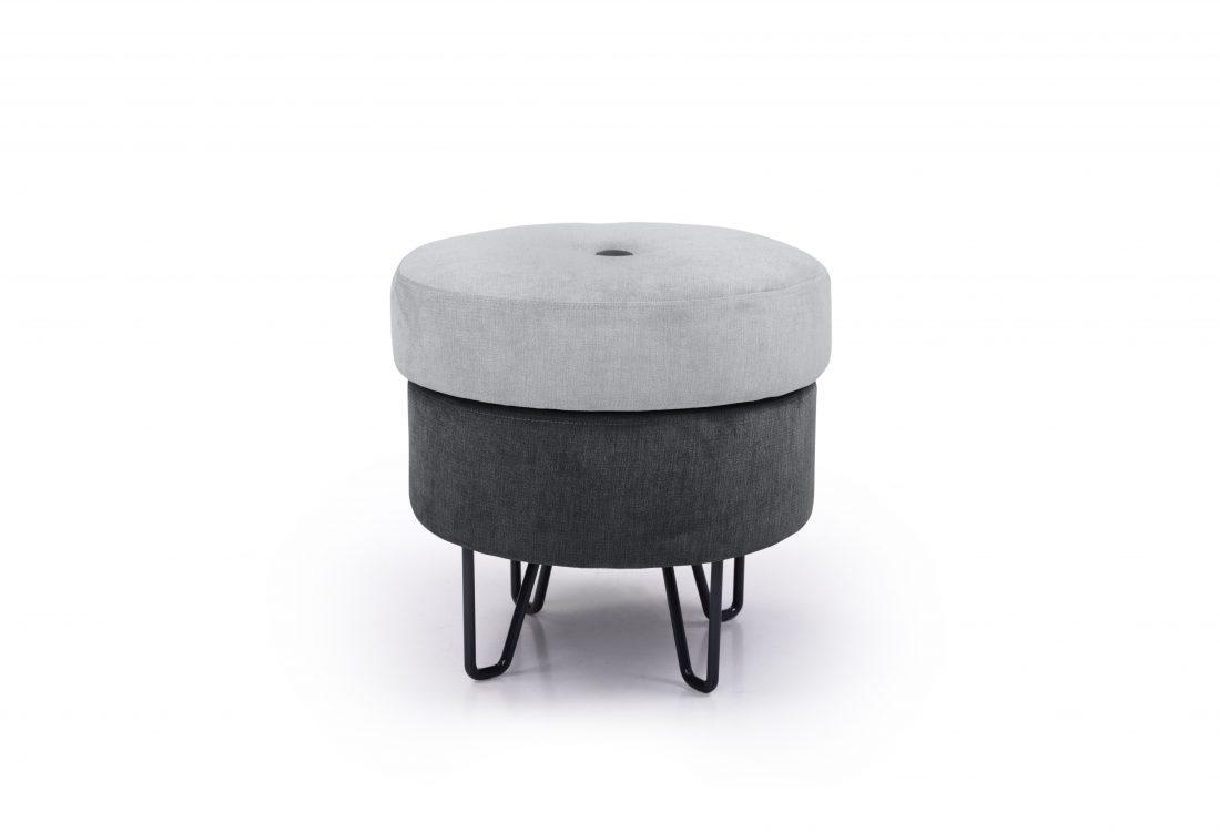 CARATE small pouf (ORINOCO 22 silver_ORINOCO 7 antrazite) front