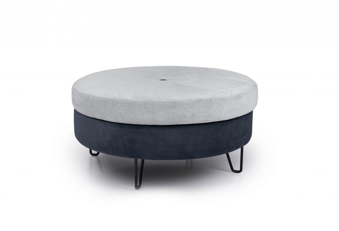 CARATE big pouf (ORINOCO 22 silver_ORINOCO 16 blue) front