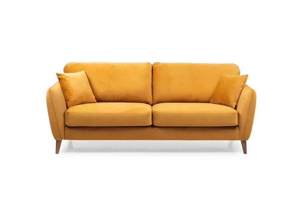 PARIS 3 seater (RIVIERA 21 mustard) front softnord soft nord scandinavian style furniture modern interior design sofa bed chair pouf upholstery