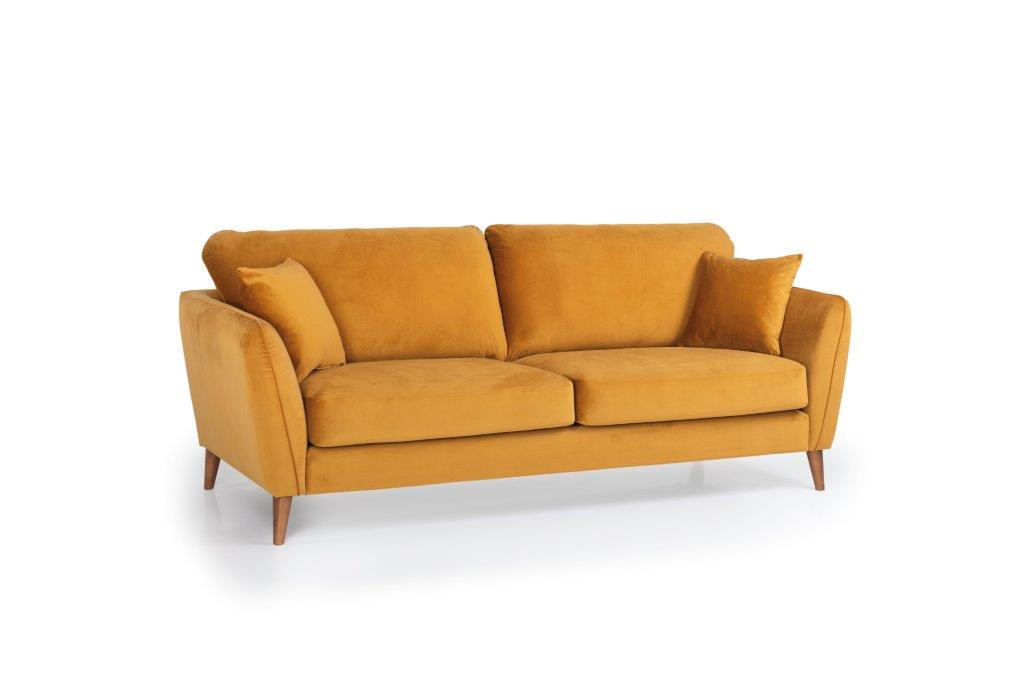 PARIS 3 seater (RIVIERA 21 mustard) side softnord soft nord scandinavian style furniture modern interior design sofa bed chair pouf upholstery