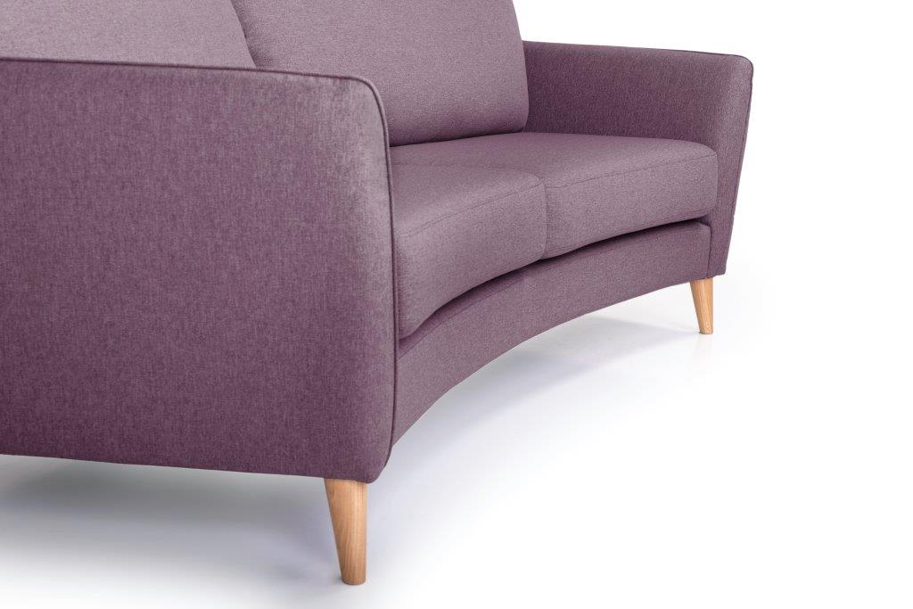 PARIS 3 seater round (SALSA 15 purple) curved detail softnord soft nord scandinavian style furniture modern interior design sofa bed chair pouf upholstery