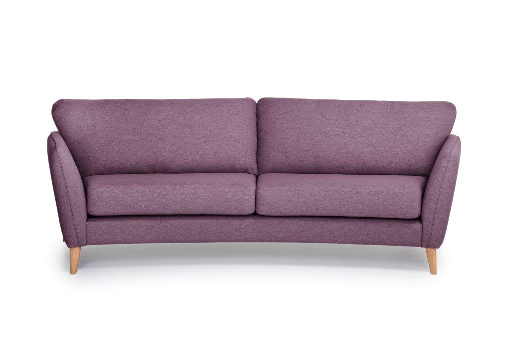 PARIS 3 seater round (SALSA 15 purple) front softnord soft nord scandinavian style furniture modern interior design sofa bed chair pouf upholstery