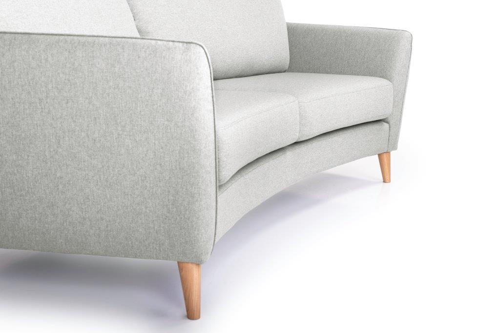 PARIS 3 seater round (SALSA 3.3 warm grey) detail softnord soft nord scandinavian style furniture modern interior design sofa bed chair pouf upholstery
