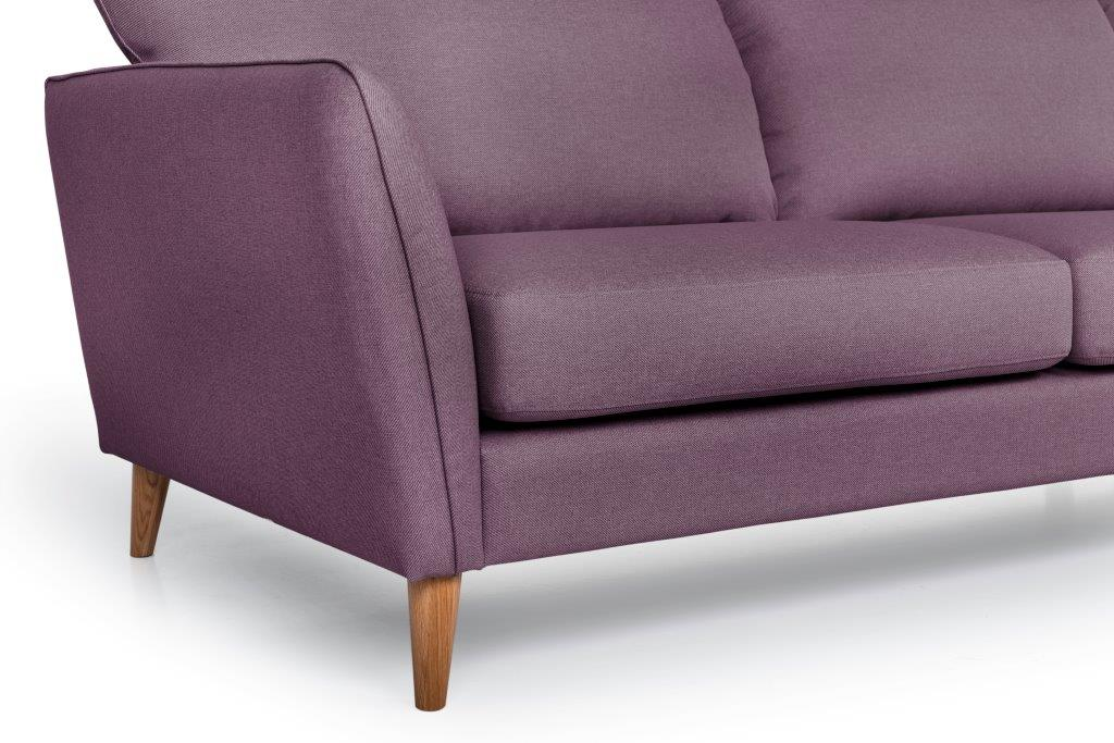 PARIS XL chaiselongue with 3 seater (SALSA 15 purple) arm+leg softnord soft nord scandinavian style furniture modern interior design sofa bed chair pouf upholstery