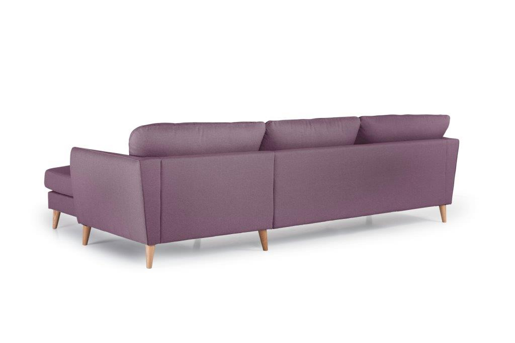 PARIS XL chaiselongue with 3 seater (SALSA 15 purple) back softnord soft nord scandinavian style furniture modern interior design sofa bed chair pouf upholstery
