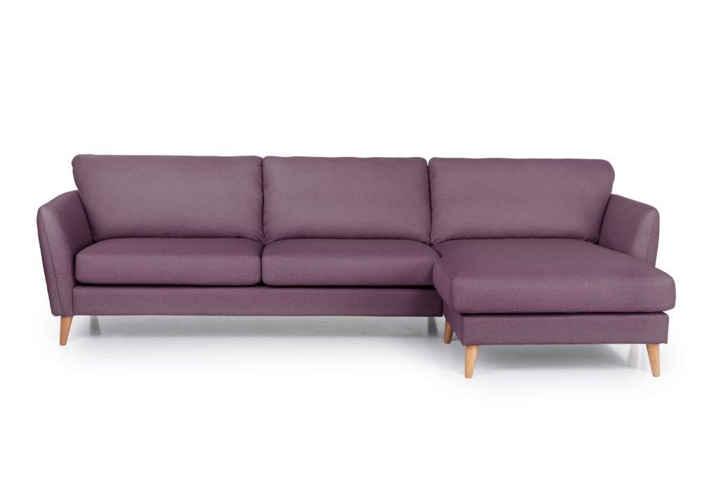 PARIS XL chaiselongue with 3 seater (SALSA 15 purple) front softnord soft nord scandinavian style furniture modern interior design sofa bed chair pouf upholstery