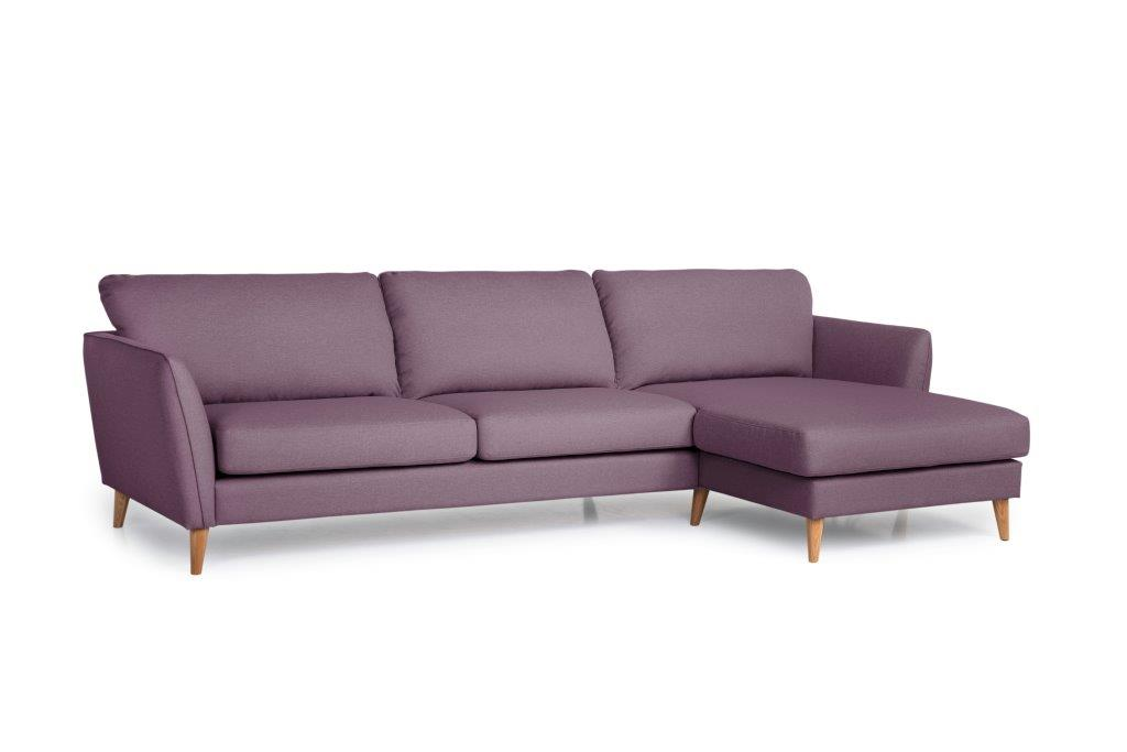 PARIS XL chaiselongue with 3 seater (SALSA 15 purple) side softnord soft nord scandinavian style furniture modern interior design sofa bed chair pouf upholstery