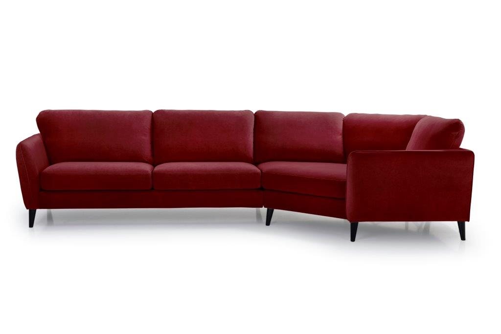 PARIS cosy corner with 3 seater (TRENTO 1 red) front softnord soft nord scandinavian style furniture modern interior design sofa bed chair pouf upholstery