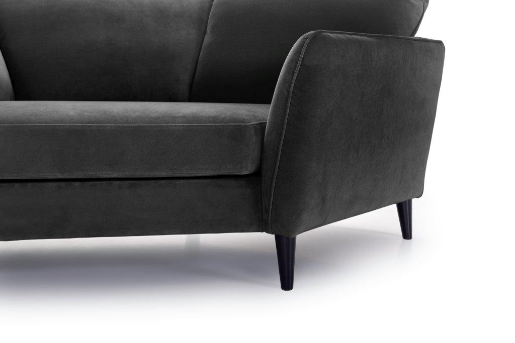 PARIS cosy corner with 3 seater (TRENTO 3.2 dark grey) arm+leg softnord soft nord scandinavian style furniture modern interior design sofa bed chair pouf upholstery