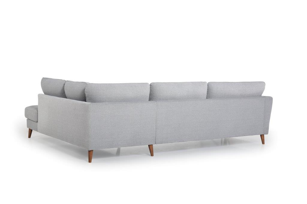 PARIS open corner with 3 seater (LUIZA 22 silver) back softnord soft nord scandinavian style furniture modern interior design sofa bed chair pouf upholstery