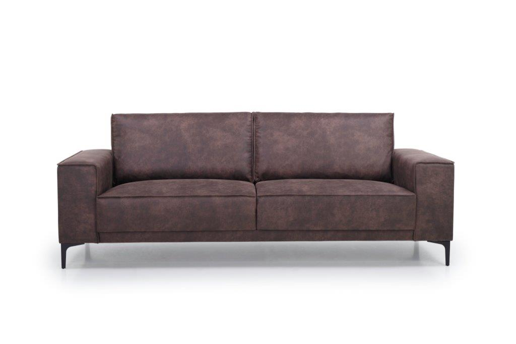 COPENHAGEN 3 seater (PRESTON 29 chocolate) front softnord soft nord scandinavian style furniture modern interior design sofa bed chair pouf upholstery