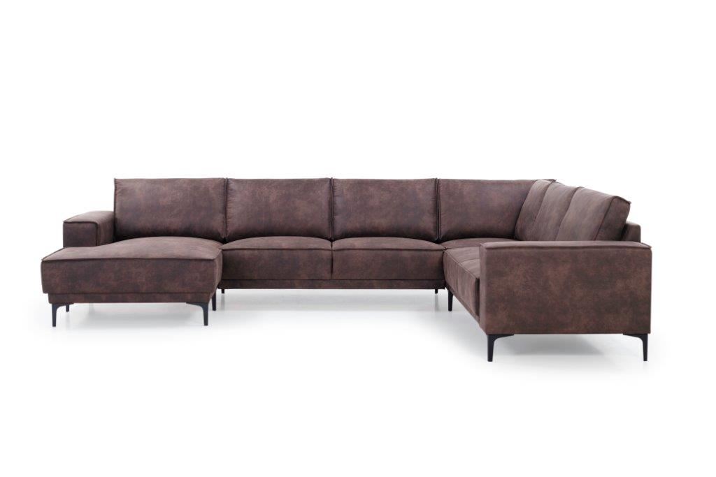 COPENHAGEN U-Corner with 2,5 seater (PRESTON 29 chocolate) front softnord soft nord scandinavian style furniture modern interior design sofa bed chair pouf upholstery