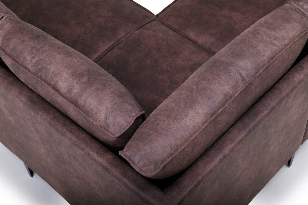 COPENHAGEN open corner with 3 seater (PRESTON 29 chocolate) corner detail softnord soft nord scandinavian style furniture modern interior design sofa bed chair pouf upholste