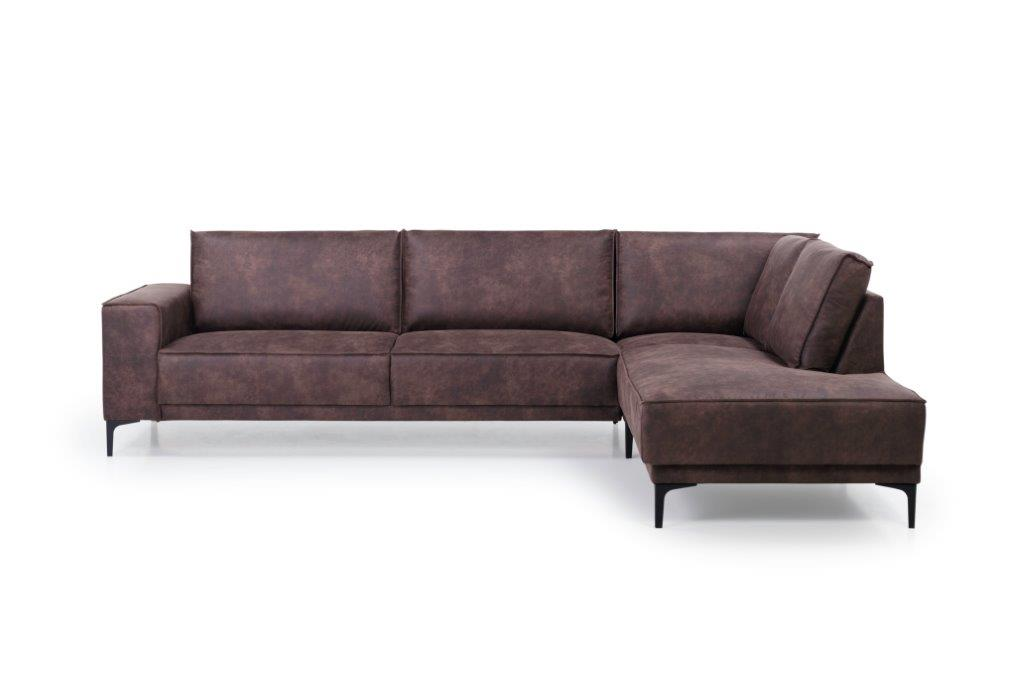 COPENHAGEN open corner with 3 seater (PRESTON 29 chocolate) front softnord soft nord scandinavian style furniture modern interior design sofa bed chair pouf upholstery