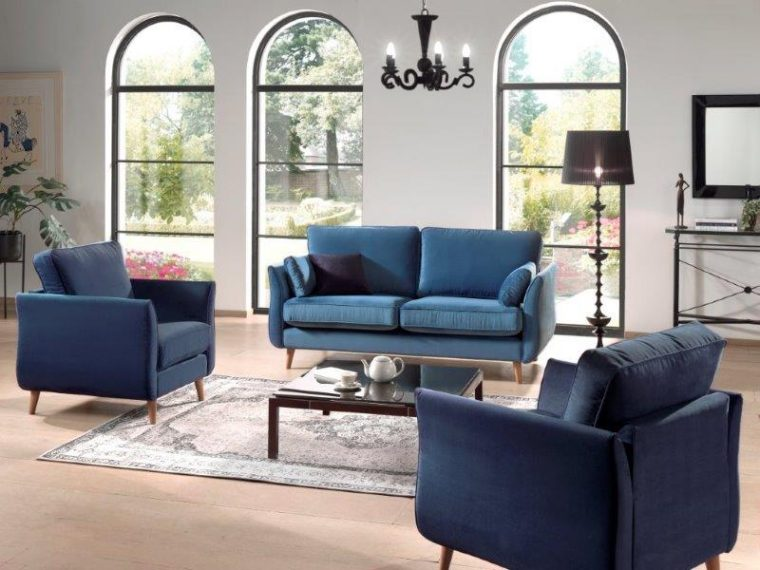 COCO 2,5+1+1 (NAPOLY 16 blue, NAPOLY 16.2 dark blue) high rez interior softnord soft nord scandinavian style furniture modern interior design sofa bed chair pouf upholstery