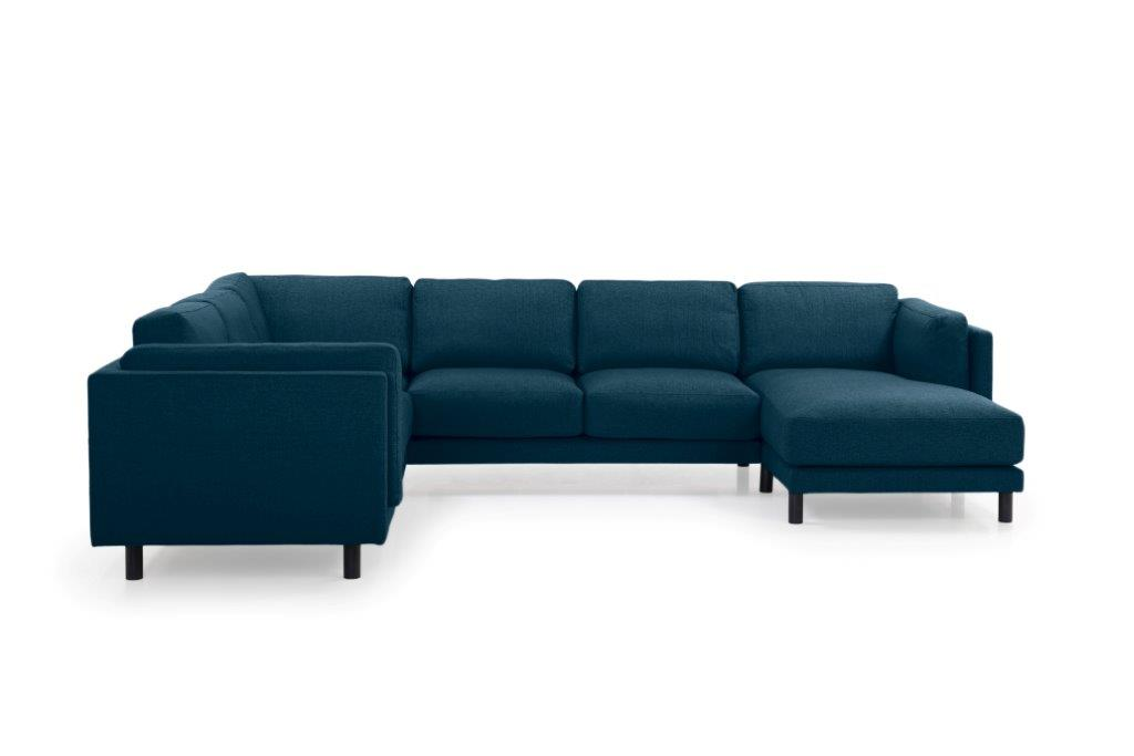 COUZ U-Corner with 2 seater (FAME 16.2 dark blue) front softnord soft nord scandinavian style furniture modern interior design sofa bed chair pouf upholstery