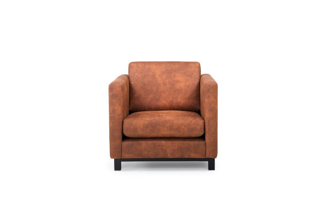 CUPID 1 seater (PRESTON 24 cognac) front softnord soft nord scandinavian style furniture modern interior design sofa bed chair pouf upholstery